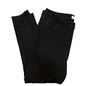 ELOQUII Black Lace-Up Skinny Ankle Jeans Size 18